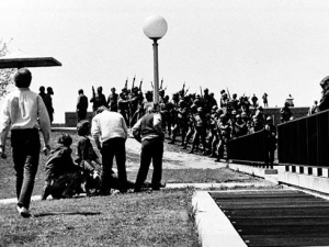 National Guard opens fire on protesters at Kent State on May 4, 1970.  Photo Credit: AP Photo