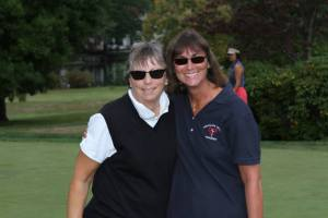 Mrs. Chelotti (left) and Mrs. Garrigan (right) play together in the Blue Eagle Open
