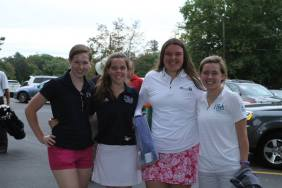 Members of the IHA Varsity Golf team pose together for a picture From left to right: Diana Cosgrove, Alison Purcell, Erika Fleming, & Patricia Cox