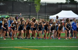 IHA Cross Country team lines up for the Newark Academy Invitational 5K race in Livingston, New Jersey, on Thursday, September 13th.