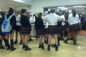 IHA students stand in line to purchase food from the school's new Cater to You service.