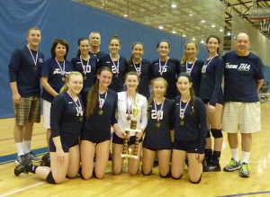 The IHA volleyball team  earns a trophy at the Edgewater & Dr. Phillips tournament in Orlando, Florida on Saturday, September 27th.