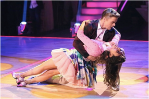 Bethany Mota and Derek Hough dance the jive on the first week of ABC's Dancing with the Stars. Photo Credit: Fashiontimes.com