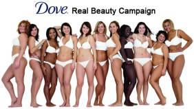 "Dove's ""Real Beauty Campaign"" shows the different bodies that all women have, encouraging women to feel comfortable in their own skin.  Photo Credit: Visiblemeasures.com"