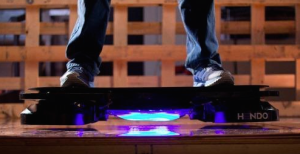 The Hendo Hoverboard hovers about one inch off the ground, thanks to new technology. Photo Credit: www.kickstarter.com/projects