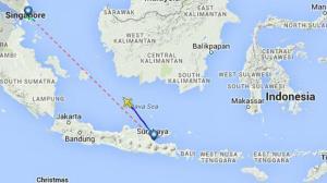 Flight Map of Missing AirAsia Flight Photo Credit: The Chicago Tribune