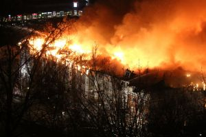 A massive fire in Edgewater destroyed the Avalon apartment complex on Wednesday evening. Photocredit: NJ.com