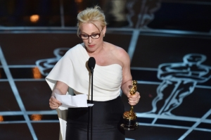 Patricia Arquette accepts her Oscar for Best Actress in a Supporting Role and makes powerful remarks supporting wage equality. Photocredit: The New Yorker