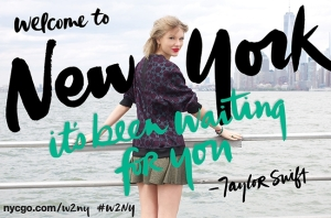 """Taylor Swift poses in front of the NYC skyline to promote her song, """"Welcome to New York."""" Swift $50,000 from the song's proceeds to NYC public schools, and plans to donate more soon. Photo Credit: billboard.com"""