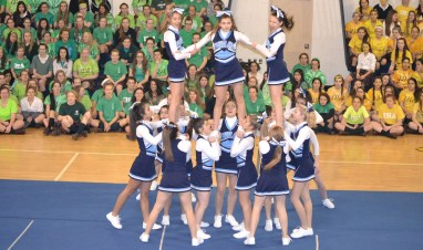 The IHA Cheerleading team will be transforming into the IHA Pom Squad for the 2015-2016 school year. Girls will have the opportunity to try out for the new team next October.  Photo Credit: Mrs. Proscia/Photography Club