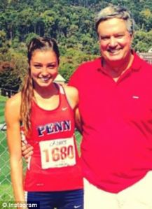 Madison poses in her UPenn track uniform with her father,  Jim Holleran