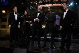 Steve Martin is joined by Tom Hanks, Melissa McCarthy, Chris Rock, and Alec Baldwin for the opening monologue. Photo Credit: NBC