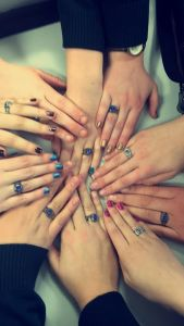Some Juniors show off their rings after the ring ceremony on Friday, February 6th.  Photo Credit: Adelaine Zuks.