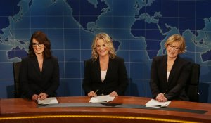 Tina Fey, Amy Poehler, and Jane Curtin pay homage to 40 years of Weekend Update. Photocredit: NBC