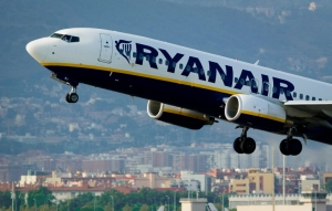 An airplane of the Irish low-cost airline Ryanair takes off from Barcelona's airport on September 01, 2010. Irish low-cost airline Ryanair said that intends to charge travellers only $15 dollars to fly from Europe to America or vice versa.  Photo Credit: JOSEP LAGO/AFP/Getty Images