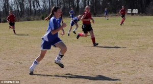 Kayla Montgomery loved to play soccer until she fell during a game at the age of 14. She was later diagnosed with MS.  Photo Credit: Daily Mail