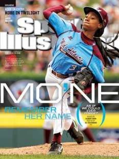 Mo'ne Davis on the cover of Sports Illustrated, throwing her 70 mph fastball.  Photo Credit: Fox Sports