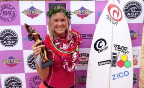Hamilton wins her latest title at the Pipeline Women's Pro Surf Competition in 2014. Photo Credit: Bethany Hamilton