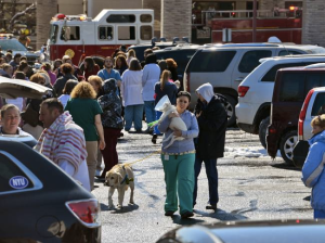 Workers at Oradell Animal Hospital evacuate the building with the animals after an MRI machine exploded.  Photo Credit: northjersey.com