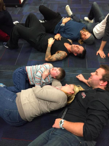 Maroon 5 members lay with Christopher backstage while he panicks from meeting them for the first time. picture credits: today.com
