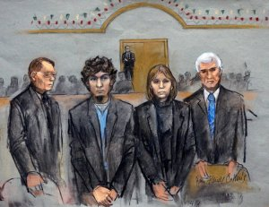Tsarnaev, second from the left, was said to have shown no emotion as the verdict was being read.  Photo cred: nytimes.com