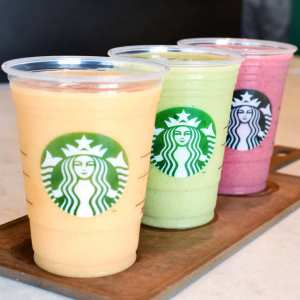 Starbucks introduces three new smoothies: Mango Carrot, Sweet Greens and Strawberry. Photo Credit: news.starbucks.com