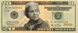 W20 is petitioning for Congress to put a woman on the $20 bill. Finalists include Rosa Parks(pictured above), Eleanor Roosevelt, Harriet Tubman, and Wilma  Mankiller. Photo Credit: Buzzfeed.com
