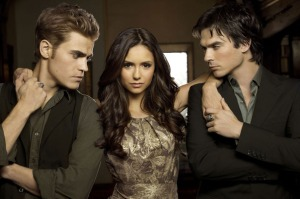 "Nina Dobrev poses with her ""The Vampire Diaries"" cast mates, Paul Wesley and Ian Somerhalder, in a photo from season 6. Photo Credit: HitFlix"