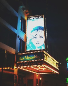 The Les Miserablés Broadway marquis. Photo Credit: Riley Maloney