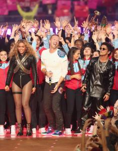 Beyoncé, Chris Martin, and Bruno Mars performing together at Super Bowl 50. Photo Credit: New York Daily News