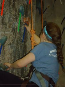 Riley DeRosa '18 at the rock climbing event. Photo Credit: Sharon Mistretta