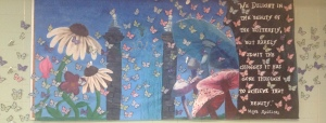 The bulletin board in Senior Hall coincides with STUCO's butterfly theme. Photo Courtesy of Victoria Lubas'17