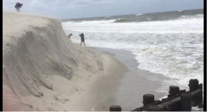 There is major erosion from Tropical Storm Hermine in Holgate, NJ. Photo courtesy of The Weather Channel