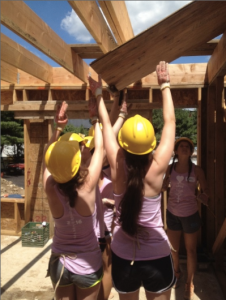 IHA juniors work hard as they build the foundation and structure of a home. Photo Courtesy of Mrs. Sarah Shutrop