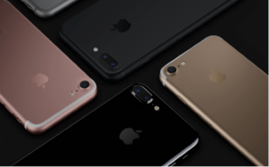The iPhone 7 is available in black, silver, gold, rose gold, and the new jet black. Photo courtesy of Apple