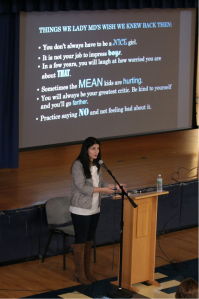 Dr. Hashimi presents advice from her colleagues in the medical field. Photo courtesy of Patrizia Proscia