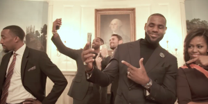 LeBron James, the Cleveland Cavaliers, and Michelle Obama pose for the mannequin challenge in the White House. Photo courtesy of Cleveland Cavaliers