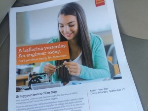"A pamphlet published by Wells Fargo Bank showing a girl who gave up her passion of dance for a ""better hobby"" as an engineer. The pamphlets have been discontinued and Wells Fargo has apologized for any negative effects the pamphlets may have had. Photo courtesy of ABC 10"