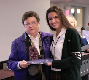 Mia Ianelli poses with IHA president, Ms. Molloy, after receiving her Soaring Eagle Award. Photo courtesy of Patrizia Proscia