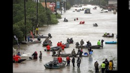Volunteers and their boats assist in the rescue effort. Photo courtesy of CNN